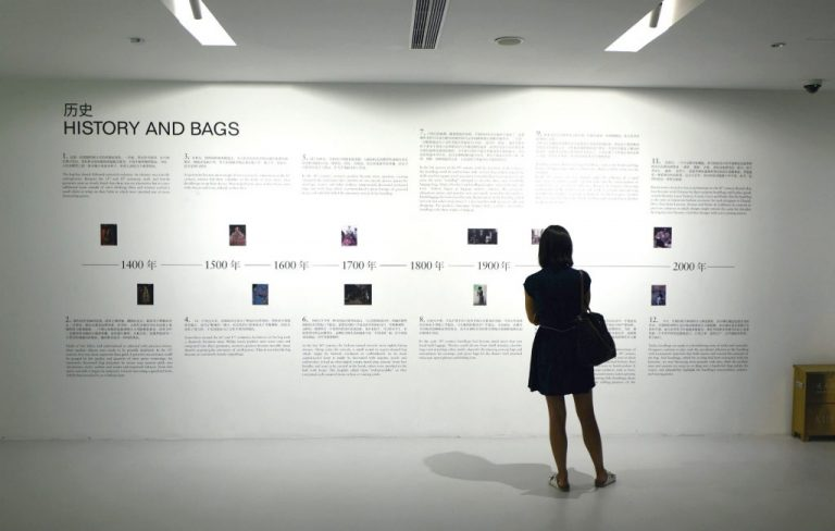 Bagism delivers more than 400 years of history with 300 handbags on display at Shanghai K11's Chi Art Space.