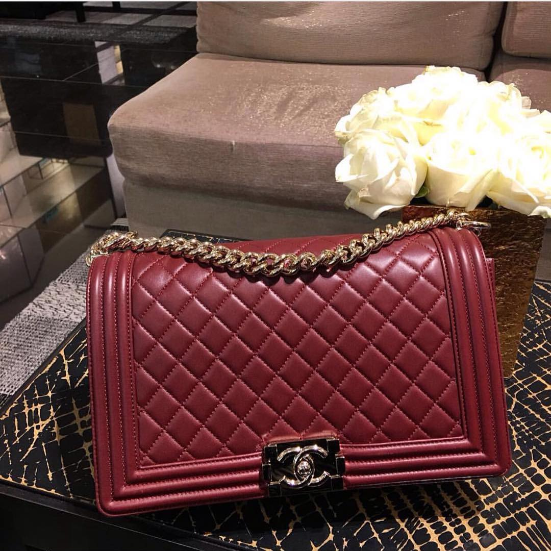 Boy Chanel Burgundy QUilted Bag