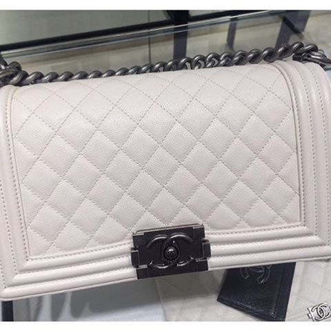 Boy Chanel White Quilted Bag